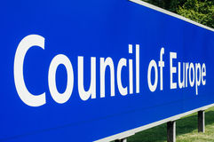Perspective viiw of Council of Europe main signage Royalty Free Stock Images