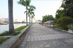 Perspective of walking way in public park heart of bangkok thail Stock Images