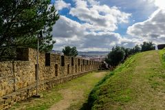 Perspective of wall in the Castle of Torres Vedras, Portugal royalty free stock image