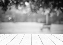 Perspective white wood over blur trees with bokeh background Stock Images