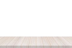 Perspective White Wood Table Top Isolate On White Background Stock Photos