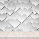 Perspective white wood table top with Paper valentine love heart Stock Photo