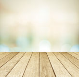 Perspective wood and blurred store with bokeh background Stock Image