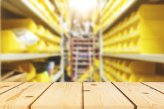 Perspective wood and blurred store for stock equipment of indust Stock Photography