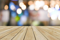 Perspective wood and bokeh light background Royalty Free Stock Photos