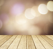 Perspective wood over blur bokeh background Royalty Free Stock Photos