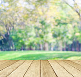 Perspective wood over blur trees with bokeh background Royalty Free Stock Photography