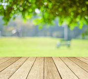 Perspective wood over blur trees with bokeh background Royalty Free Stock Image