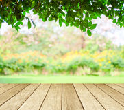 Perspective wood over blur trees with bokeh background Royalty Free Stock Photos