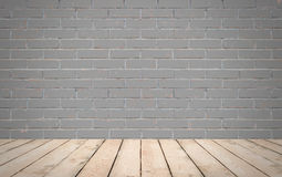 Perspective wood over grey brick wall background, room, table, i Stock Photos