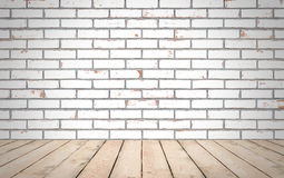 Perspective wood over white brick wall background, room, table,. Interior design, product display montage, vintage style Royalty Free Stock Photos