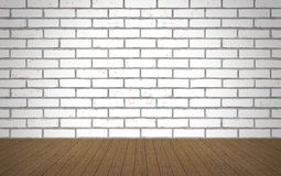 Perspective wood over white brick wall background, room, table,. Interior design, product display montage, vintage style Stock Photography