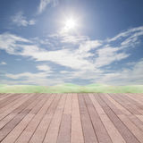 Perspective wood plank floor on sky  background for design, back Royalty Free Stock Images