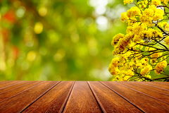 Perspective wood table and yellow flower over nature background Royalty Free Stock Images