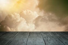 Perspective wooden balcony floor and cloudy sky vintage styled Stock Photography