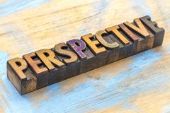 Perspective - word abstract in wood type Stock Photography