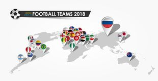 Perspective world map and GPS navigator pin with flag of national football team 2018 in gray gradient background.  Royalty Free Stock Photography