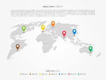 Perspective world map infographic with colorful pointers Royalty Free Stock Photography