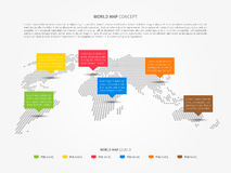Perspective world map infographic with colorful pointers Stock Image