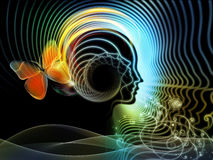 Perspectives of Human Mind. Backdrop composed of human feature lines and symbolic elements and suitable for use in the projects on human mind, consciousness Stock Image