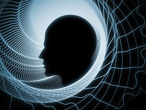 Perspectives of Soul Geometry. Geometry of Soul series. Background design of profile lines of human head on the subject of education, science, technology and Stock Photos