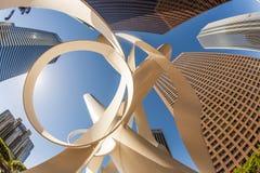 Perspektiv av skyskrapan i stadens centrum Los Angeles Fotografering för Bildbyråer