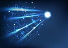 Perspektiv för Digital teknologi, linjer för rörelse för kurva för elektricitet för nätverksanslutning simhudsförsedda med idérik stock illustrationer