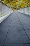 Perspektiv för låg vinkel av den tomma fotbron - lodlinje Fotografering för Bildbyråer