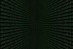 Perspektivbild av digital mörker för teknologi eller svartbakgrund med binär kod i ljus - grön färg 1001 arkivfoto
