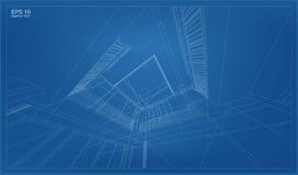 Perspektive 3D übertragen von Gebäude wireframe Stockfoto