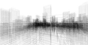 Perspektive 3D übertragen von Gebäude wireframe Lizenzfreie Stockbilder