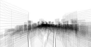 Perspektive 3D übertragen von Gebäude wireframe Lizenzfreie Stockfotografie