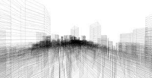 Perspektive 3D übertragen von Gebäude wireframe Stockfotografie