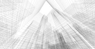 Perspektive 3d wireframe des Gebäudes Lizenzfreie Stockbilder