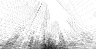 Perspektive 3d wireframe des Gebäudes Lizenzfreies Stockbild