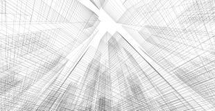 Perspektive 3d wireframe des Gebäudes Stockbilder
