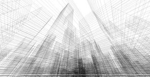 Perspektive 3d wireframe des Gebäudes Stockfotografie