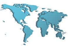 Perspektive der Weltseitenansicht-Karte 3D auf Erde Stockbilder