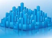 Perspektiveansicht der blauen Geschäftslokalgebäude Stockbild