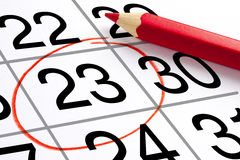 Perspektiven-roter Bleistift Mark Calendar Appointment Stockfotografie