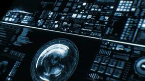 Perspektivenansicht der tiefen blauen futuristischen Schnittstelle/des Digital-Schirmes vektor abbildung
