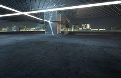 Perspektivenansicht des leeren Zementbodens mit modernem errichtendem Äußerem des Stahls und des Glases lizenzfreie abbildung