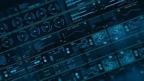 Perspektivenansicht mit aus Schwerpunkten der futuristischen Schnittstelle/der Digital screen/HUD heraus stock video