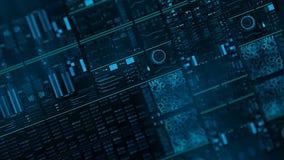 Perspektivenansicht mit aus Schwerpunkten der futuristischen Schnittstelle/der Digital screen/HUD heraus