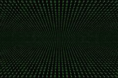 Perspektivenbild dunklen der Technologie des digitalen oder schwarzen Hintergrundes mit binär Code in hellgrüner Farbe 1001 Stockbild