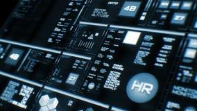 Perspektivsikt av den djupblå futuristiska manöverenheten/Digital screen/HUD