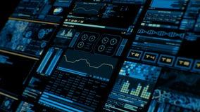 Perspektivsikt av den färgrika futuristiska manöverenheten/Digital screen/HUD