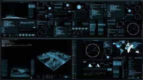 Perspektivsikt av den futuristiska manöverenheten/den Digital skärmen