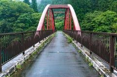 Perspektivsikt av den ljusa röda ärke- bron Fotografering för Bildbyråer