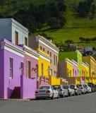Perspektivsikt av det Bo Kaap området, Cape Town arkivbilder
